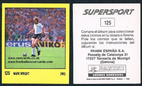 1988 Spanish Panini Supersport 125 Mark Wright Oxford Saints Derby Liverpool